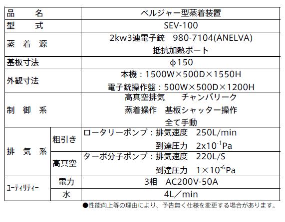 SEV-100仕様表